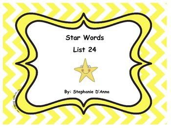 Star Words List 24 Sight Words