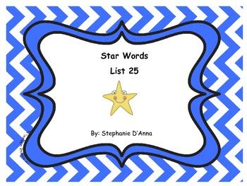 Star Words List 25 Sight Words