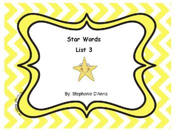 Star Words List 3 Sight Words