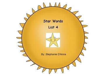 Star Words List 4 Sight Words