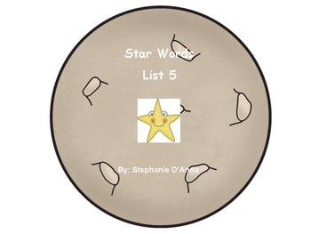 Star Words List 5 Sight Words