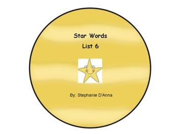 Star Words List 6 Sight Words