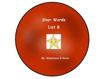 Star Words List 8 Sight Words