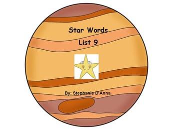 Star Words List 9 Sight Words