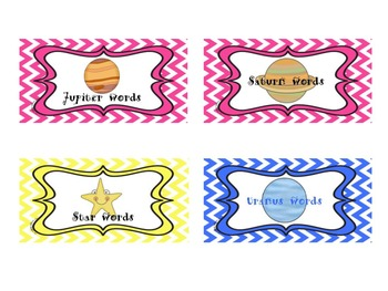 Star Words Posters and Labels 9-12