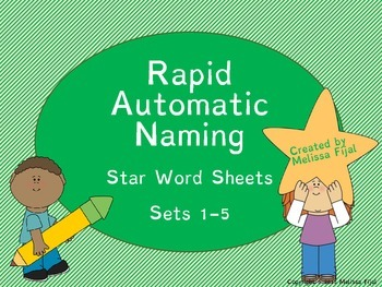 Star Words Rapid Automatic Naming Sheets