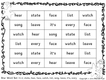 Star Words Rapid Automatic Naming Sheets Sets 11-15