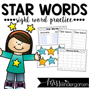 star words sight word practice by miss kindergarten love tpt