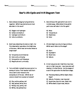 star and hr diagram test  hr diagram test question #9