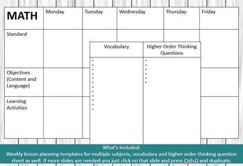 Weekly Lesson Planner-Digital