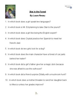 star in the forest by laura resau battle of the books questions