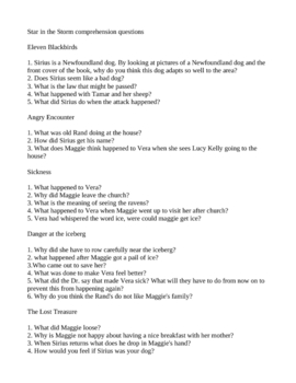 Star in the Storm Comprehension questions