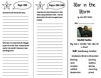 Star in the Storm Trifold - Journeys 6th Grade Unit 3 Week 1 (2011)