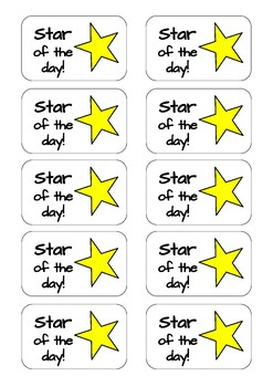 Star of the Day printable stickers