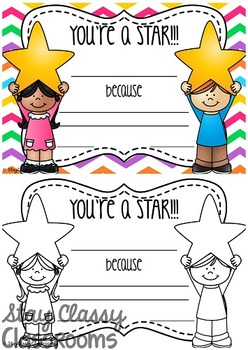 Star of the Week Certificate & Star Profile