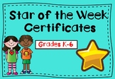 Star of the Week Certificates (Any Grade)