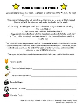 Star of the Week/Star Student Letter