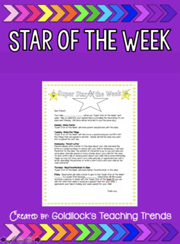 Star of the Week Letter for Parents