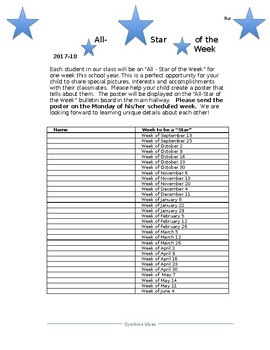 Star of the Week List
