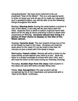Star of the Week Note