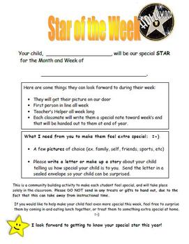Star of the Week Pack - Building A Classroom Community Forms and Activities