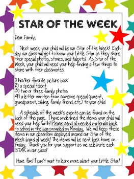Star of the Week Parent Letter by Inspire Create Teach | TpT