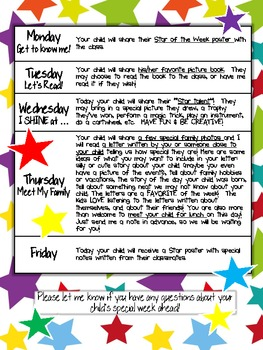 Star Of The Week Parent Letter By Inspire Create Teach Tpt