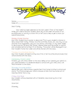 Star of the Week Parent Letter