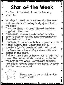 Star of the Week Poster, Parent Letter, and Writing Page