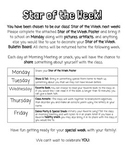 Star of the Week Schedule
