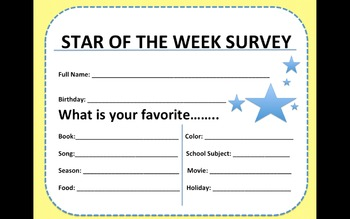 Star of the Week- (Survey, Letter to Parents, Thank You Note)