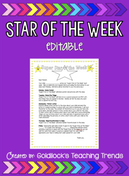 Star of the Week (editable) Letter for Parents