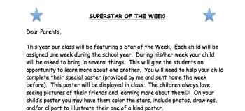Star Of The Week Parent Letter And Outline By Julia