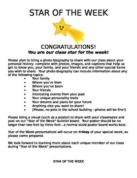 """Star of the Week"" project description"