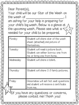 Star of the Week- with EDITABLE parent letter!
