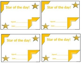 Star of the day certificates