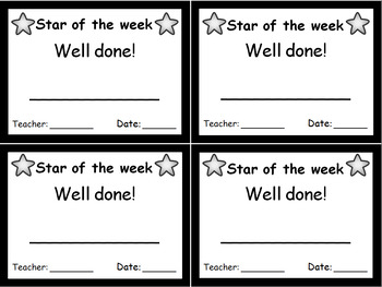 Star of the week mini certificate | Welsh & English | Rainbow & black and white