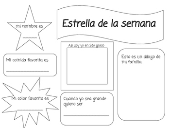 Star of the week poster in Spanish; Estrella de la semana