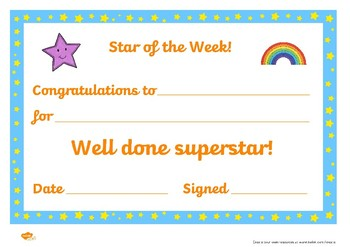 Star of the week template x2