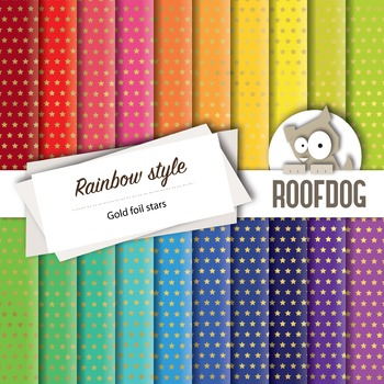 Digital paper—bright rainbow gold foil look stars