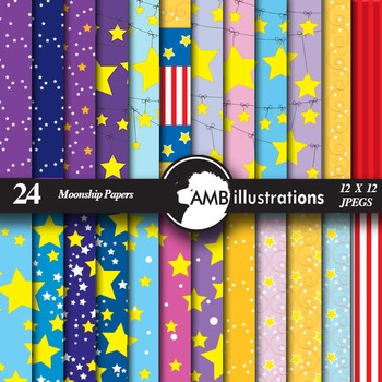 Digital Papers - Moon and Star themed papers and backgrounds, AMB-421