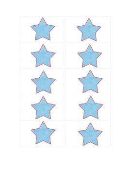 Star-themed work station labels for literacy, math, and content areas.