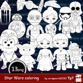 Star wars black white clipart, coloring,outline,stamps