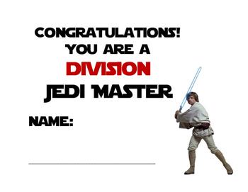 Star wars theme math fact Jedi Master certificate  CCS math fluency reward
