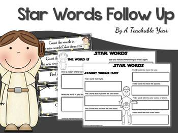 Star Words- Follow Up Worksheets