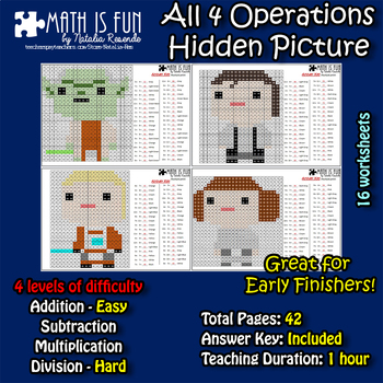 Star Wars - Mystery Picture - 4 operations - Four level difficulty
