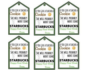 Starbooks Gift Tags Freebie Coffee Themed Gift Tag Starbucks