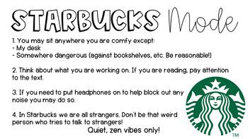 Starbucks Mode Slide for Independent Work