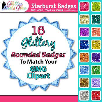 Starburst Frames Clip Art {Rainbow Glitter Labels for Spring Activities}