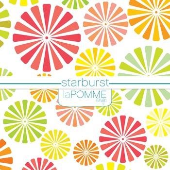 Starburst Bright Summer Colors Digital Paper